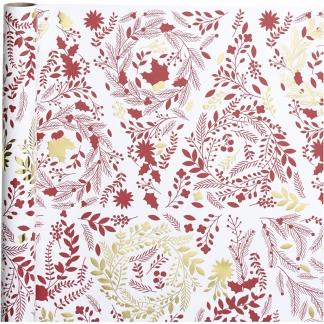 Gavepapir, B: 50 cm, 80 g, hvid, guld, rød, Juletræer, 3m