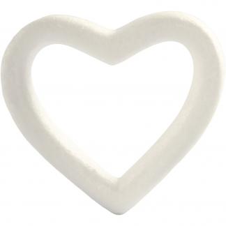 Hjerte, B: 13,5 cm, hvid, styropor, 1stk.